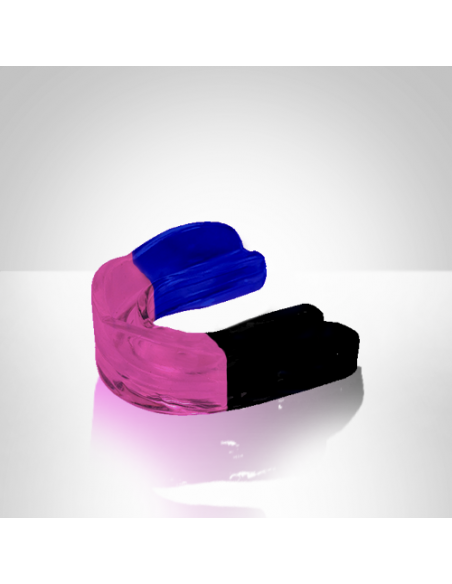 Paradenti singolo modellabile Fight Town di colore blu, rosa e nero.